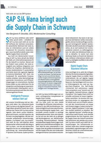 Westernacher E3 Artikel: SAP S/4HANA bringt auch die Supply Chain in Schwung.
